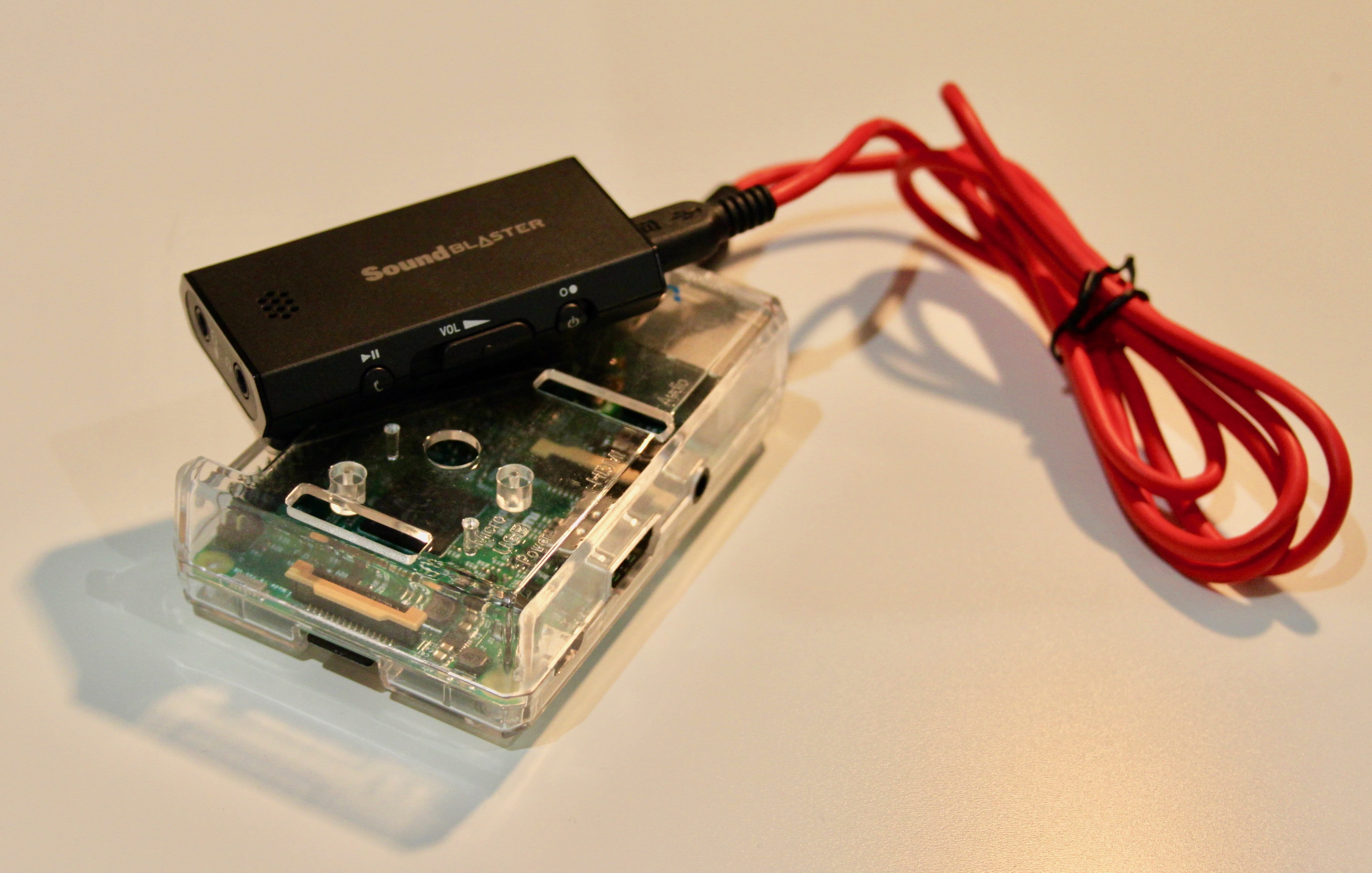 My sound card plugged to my Raspberry Pi 3